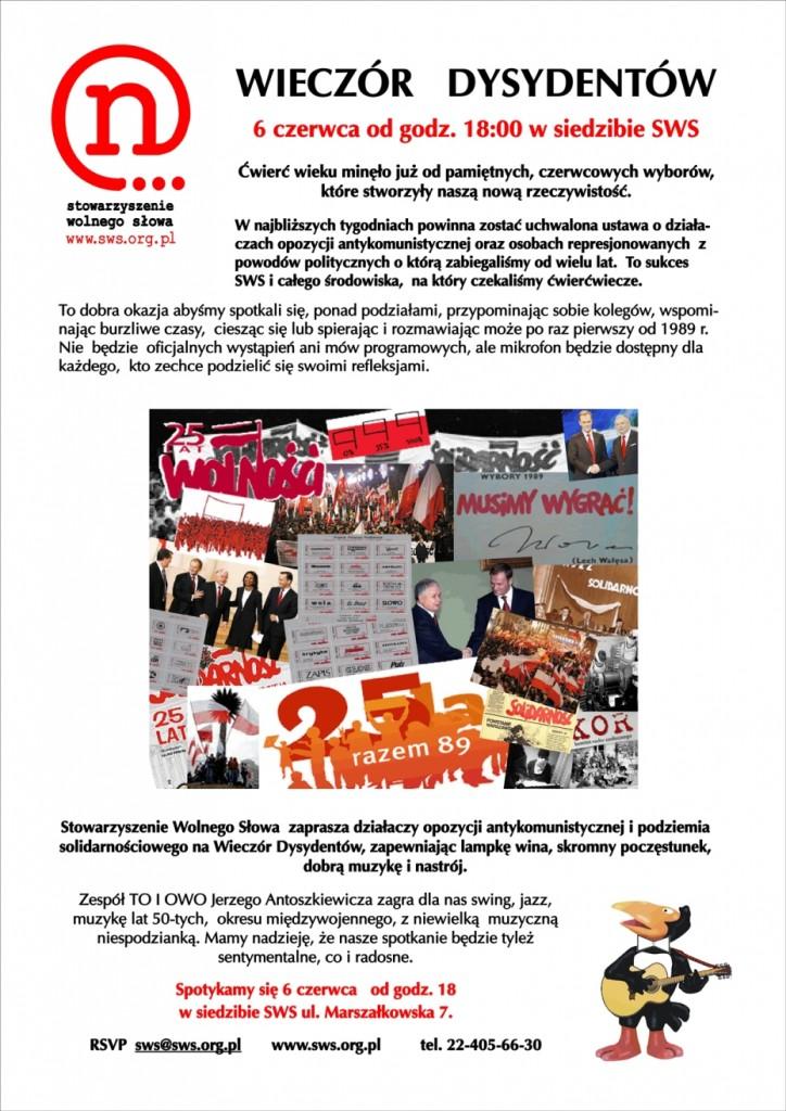 Zaproszenie na Wieczór Dysydentów - 6 czerwca 2014