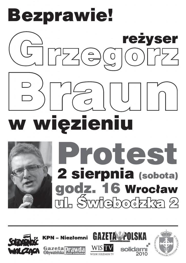 Grzegorz Braun - protest pod aresztem
