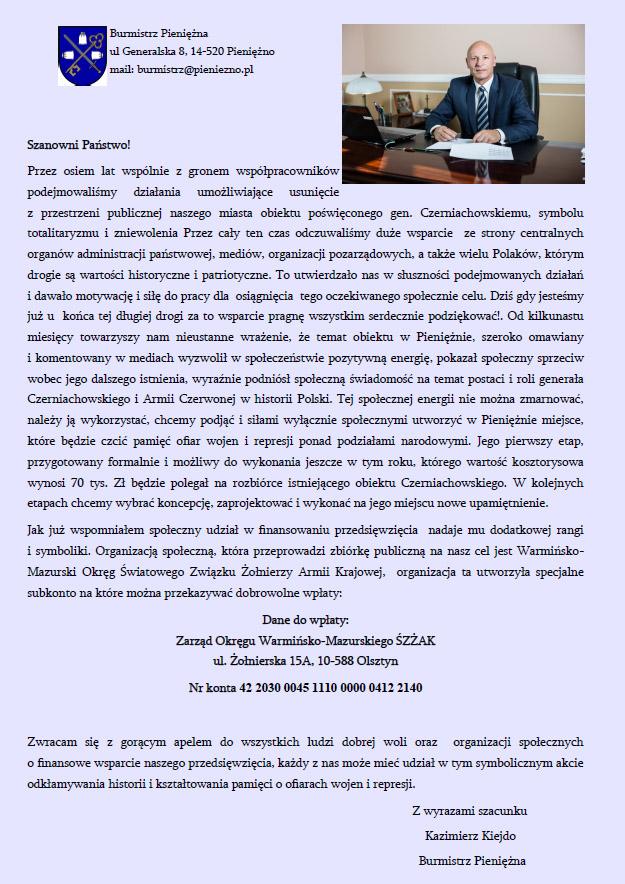 Kazimierz Kiejdo - Burmistrz - Pieniężno