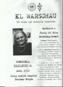 Spotkanie z dr. Mirą Modelską-Creech poświęcone KL Warshau
