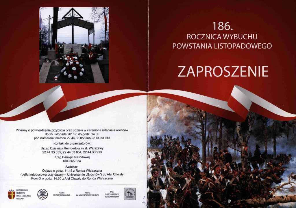 Zaproszenie na Rocznicę Powstania Listopadowego