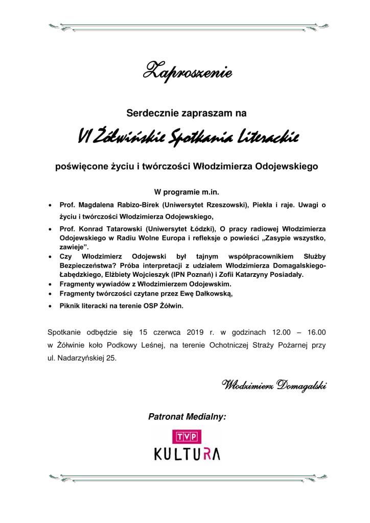 Zaproszenie na VI Żółwińskie Spotkania Literackie