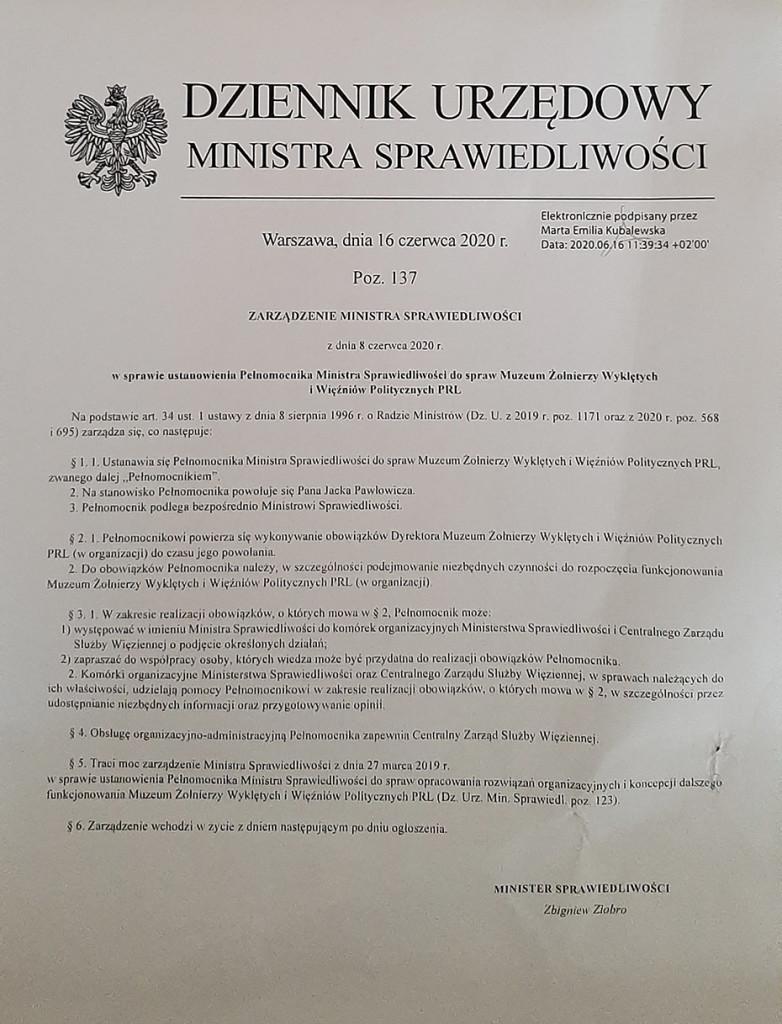 Zarządzenie Ministra Sprawiedliwości o powołaniu Jacka Pawłowicza na Dyrektora Muzeum Żołnierzy Wyklętych i Więźniów Politycznych PRL